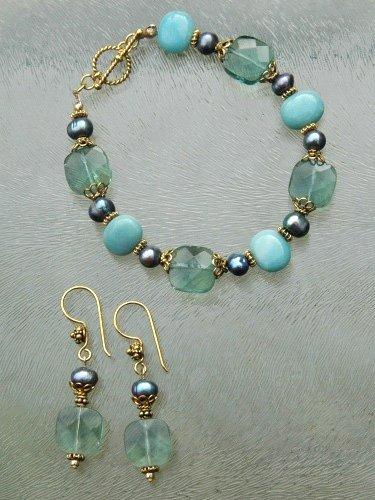 Blauwe fluoriet armband en oorbellen