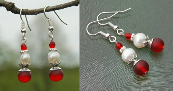 rode oorbellen parels
