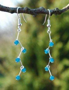 blaue kristall ohrschmuck